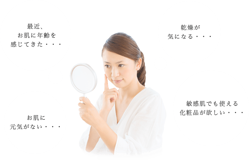 最近、お肌に年齢を感じてきた・・・乾燥が気になる・・・お肌に元気がない・・・敏感肌でも使える化粧品が欲しい・・・
